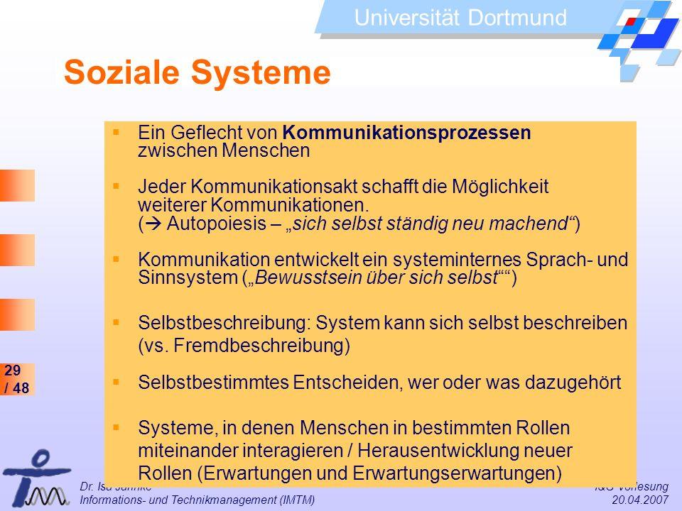 Soziale Systeme Ein Geflecht von Kommunikationsprozessen zwischen Menschen.