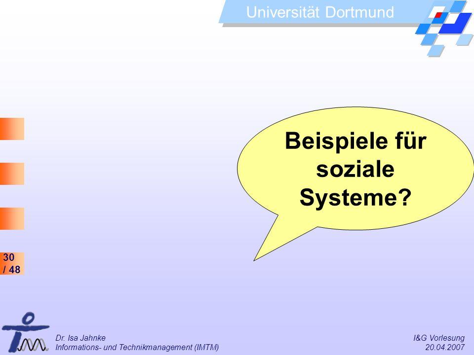 Beispiele für soziale Systeme