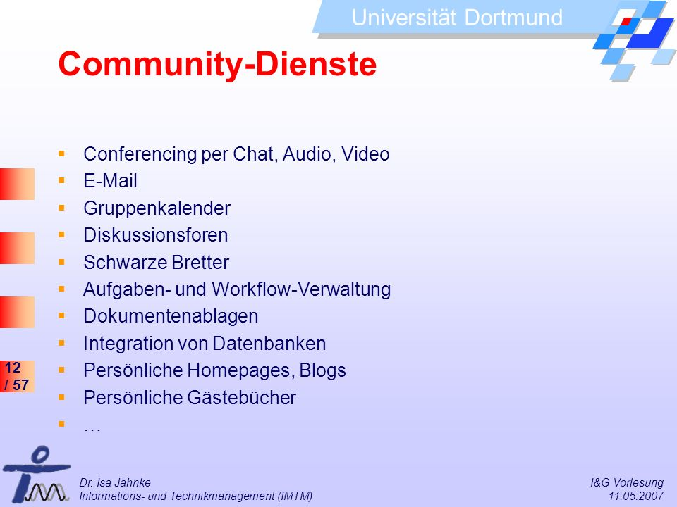 Community-Dienste Conferencing per Chat, Audio, Video E-Mail