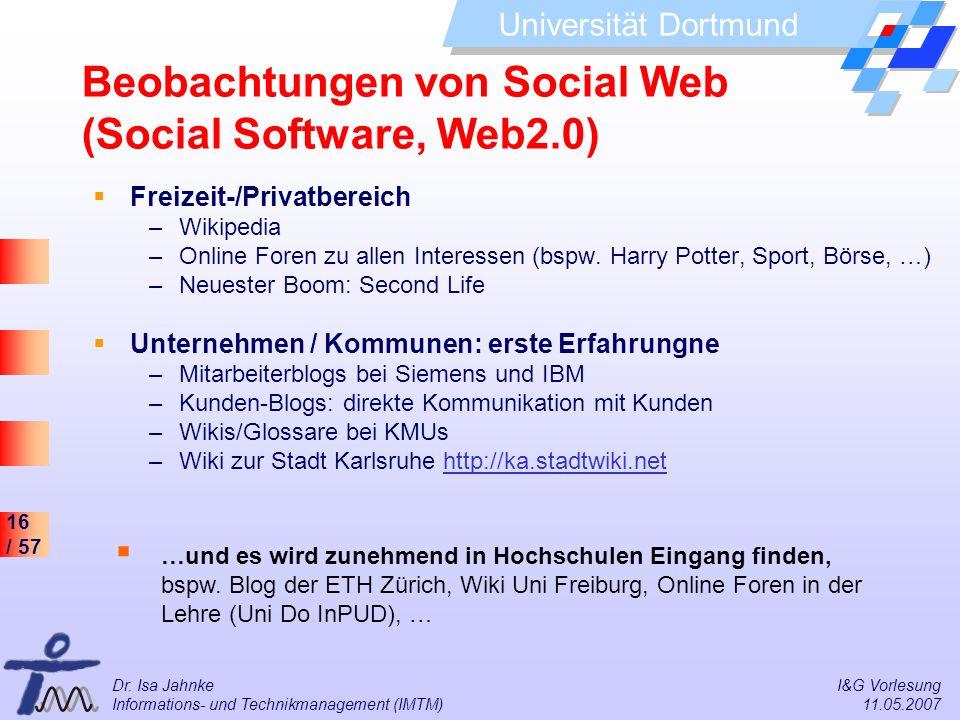 Beobachtungen von Social Web (Social Software, Web2.0)