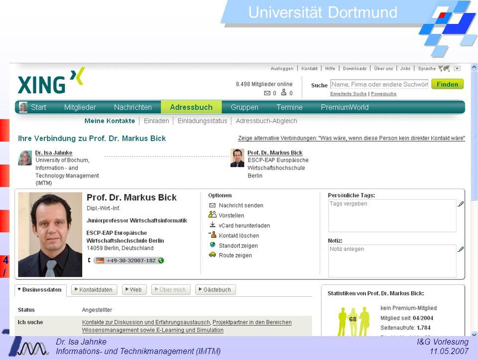 Dr. Isa Jahnke I&G Vorlesung