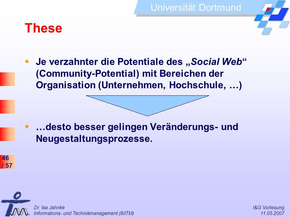 """These Je verzahnter die Potentiale des """"Social Web (Community-Potential) mit Bereichen der Organisation (Unternehmen, Hochschule, …)"""
