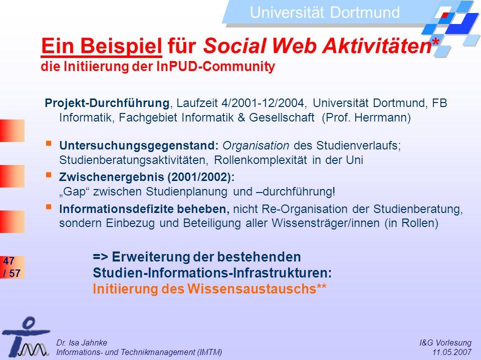 Ein Beispiel für Social Web Aktivitäten