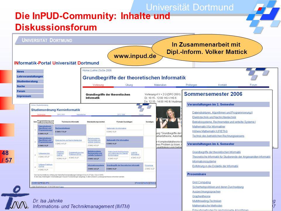 Die InPUD-Community: Inhalte und Diskussionsforum