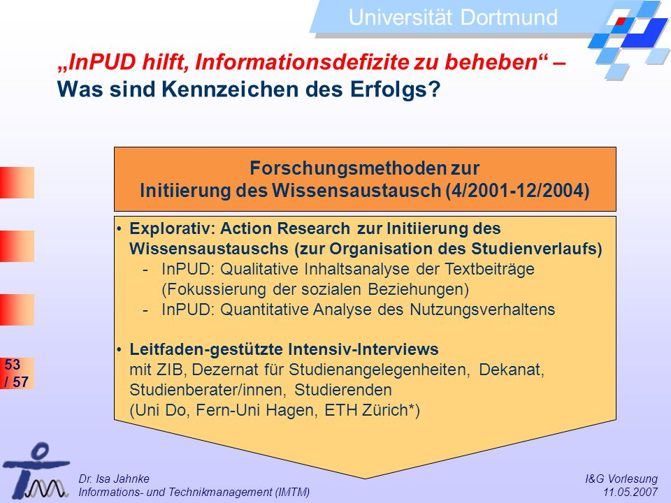 """""""InPUD hilft, Informationsdefizite zu beheben – Was sind Kennzeichen des Erfolgs"""