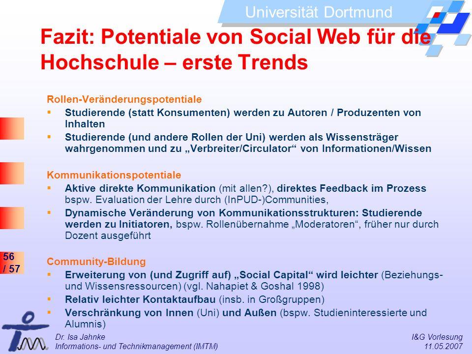 Fazit: Potentiale von Social Web für die Hochschule – erste Trends