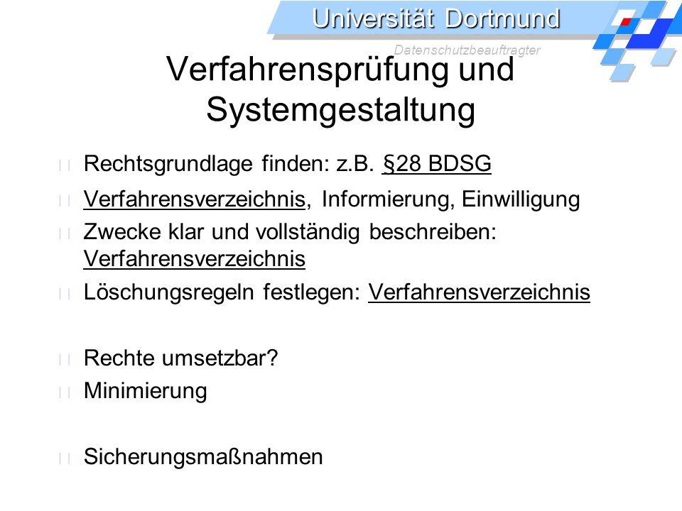 Verfahrensprüfung und Systemgestaltung