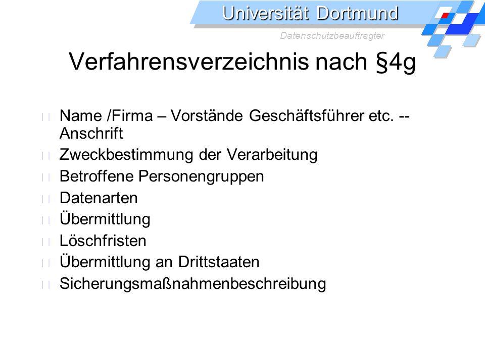 Verfahrensverzeichnis nach §4g