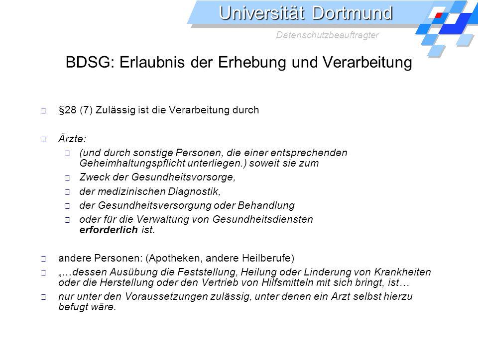 BDSG: Erlaubnis der Erhebung und Verarbeitung