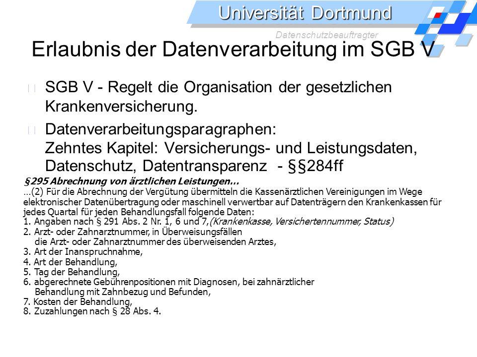 Erlaubnis der Datenverarbeitung im SGB V