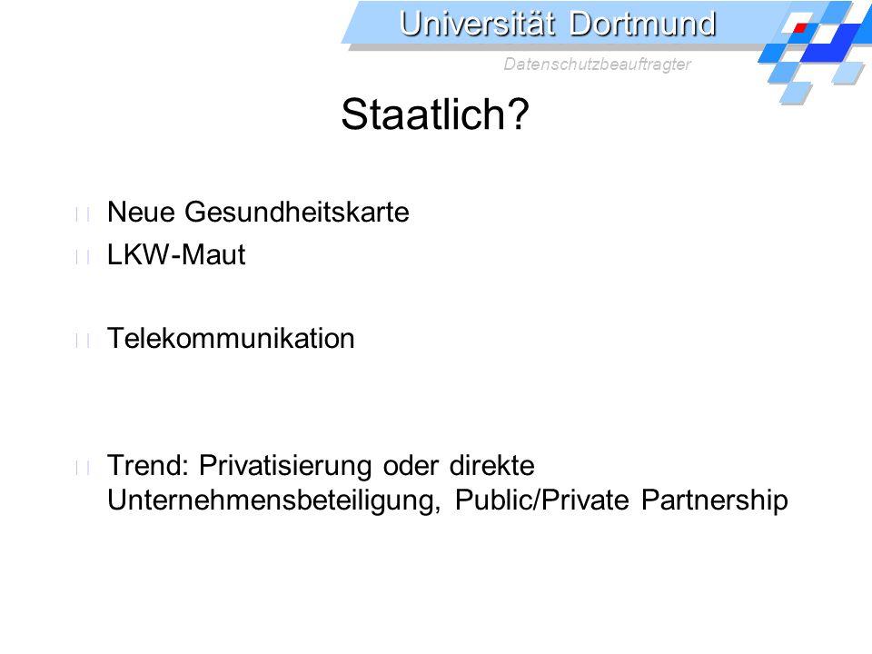 Staatlich Neue Gesundheitskarte LKW-Maut Telekommunikation