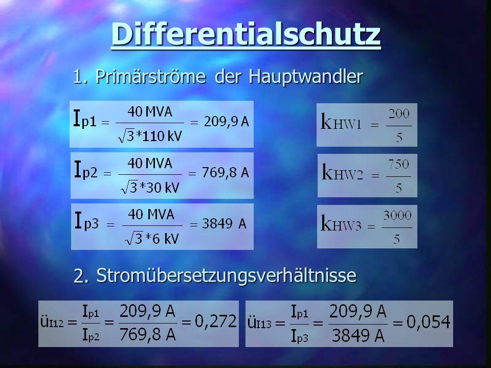 Differentialschutz Primärströme der Hauptwandler 1. 2.