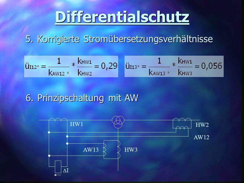 Differentialschutz 5. Korrigierte Stromübersetzungsverhältnisse 6.
