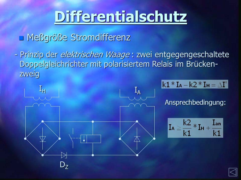 Differentialschutz Meßgröße Stromdifferenz