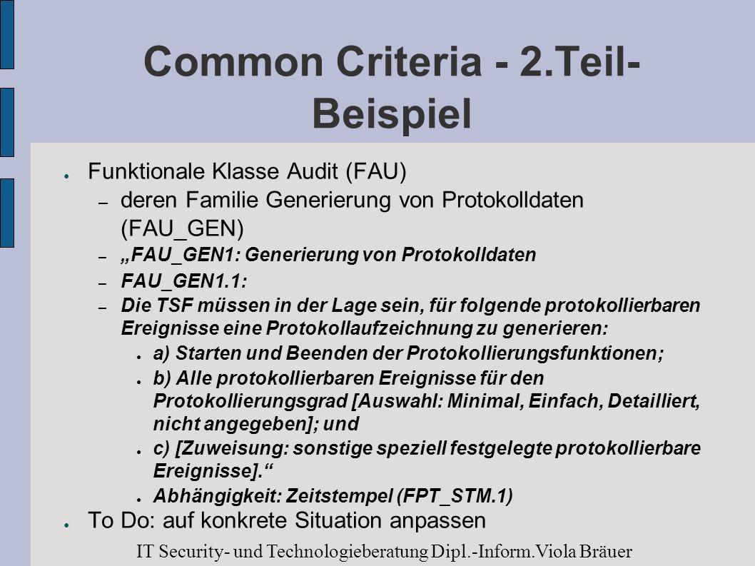 Common Criteria - 2.Teil- Beispiel