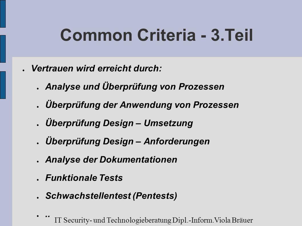 Common Criteria - 3.Teil Vertrauen wird erreicht durch: