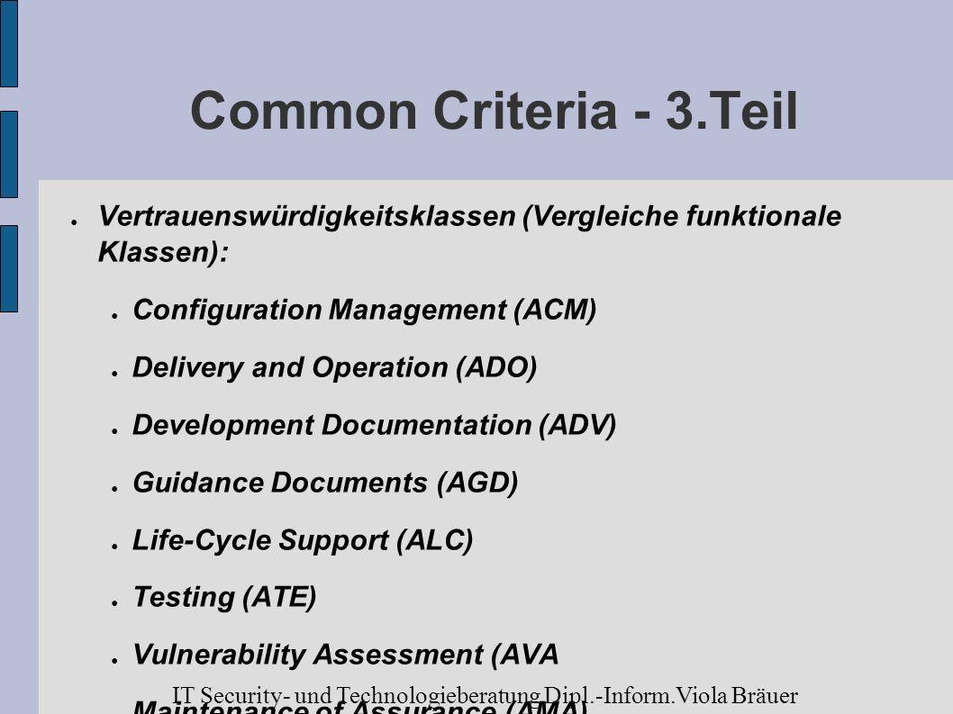 Common Criteria - 3.Teil Vertrauenswürdigkeitsklassen (Vergleiche funktionale Klassen): Configuration Management (ACM)