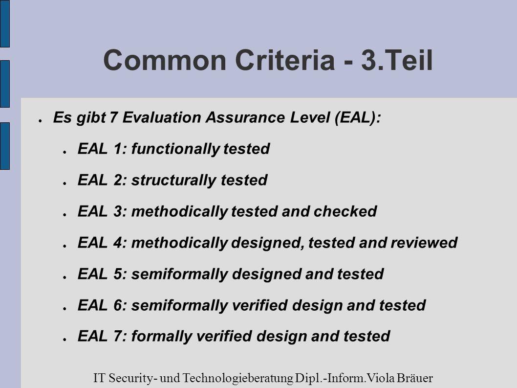 Common Criteria - 3.Teil Es gibt 7 Evaluation Assurance Level (EAL):