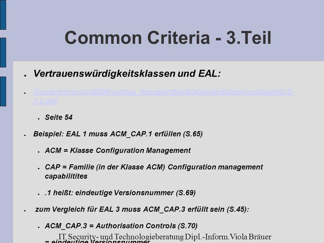 Common Criteria - 3.Teil Vertrauenswürdigkeitsklassen und EAL: