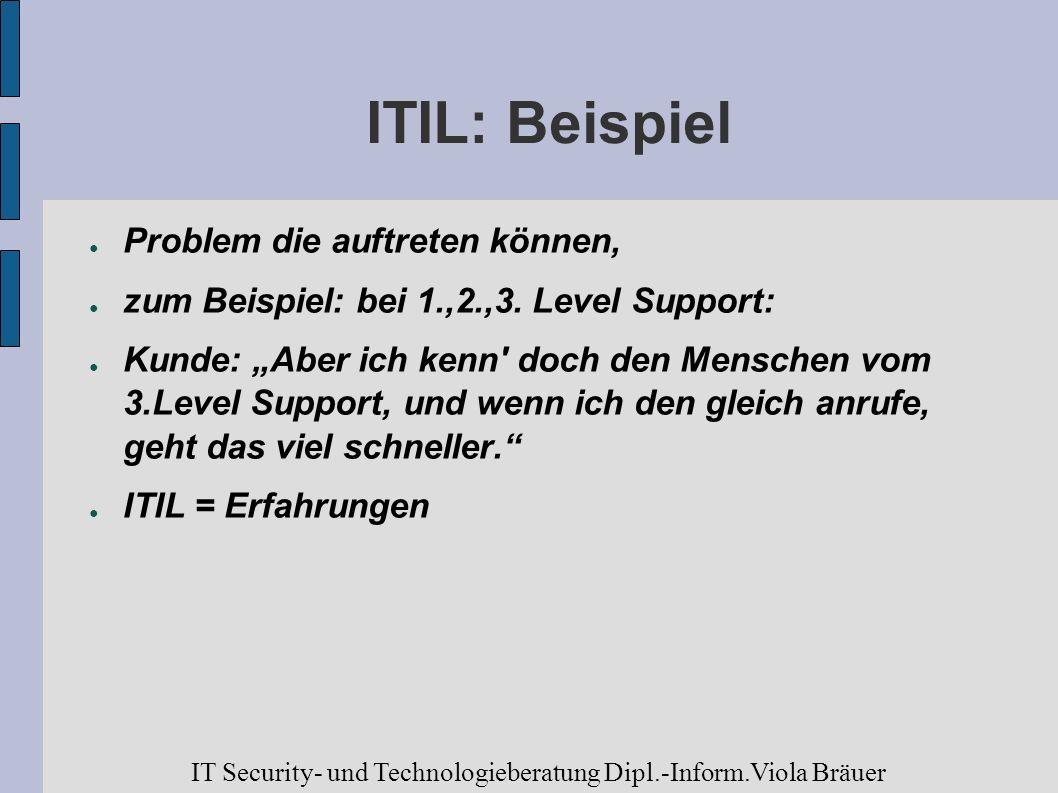 ITIL: Beispiel Problem die auftreten können,
