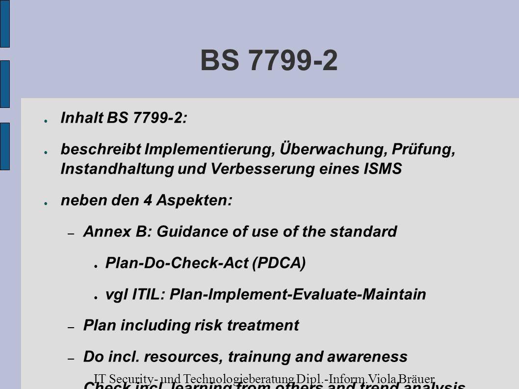 BS 7799-2 Inhalt BS 7799-2: beschreibt Implementierung, Überwachung, Prüfung, Instandhaltung und Verbesserung eines ISMS.