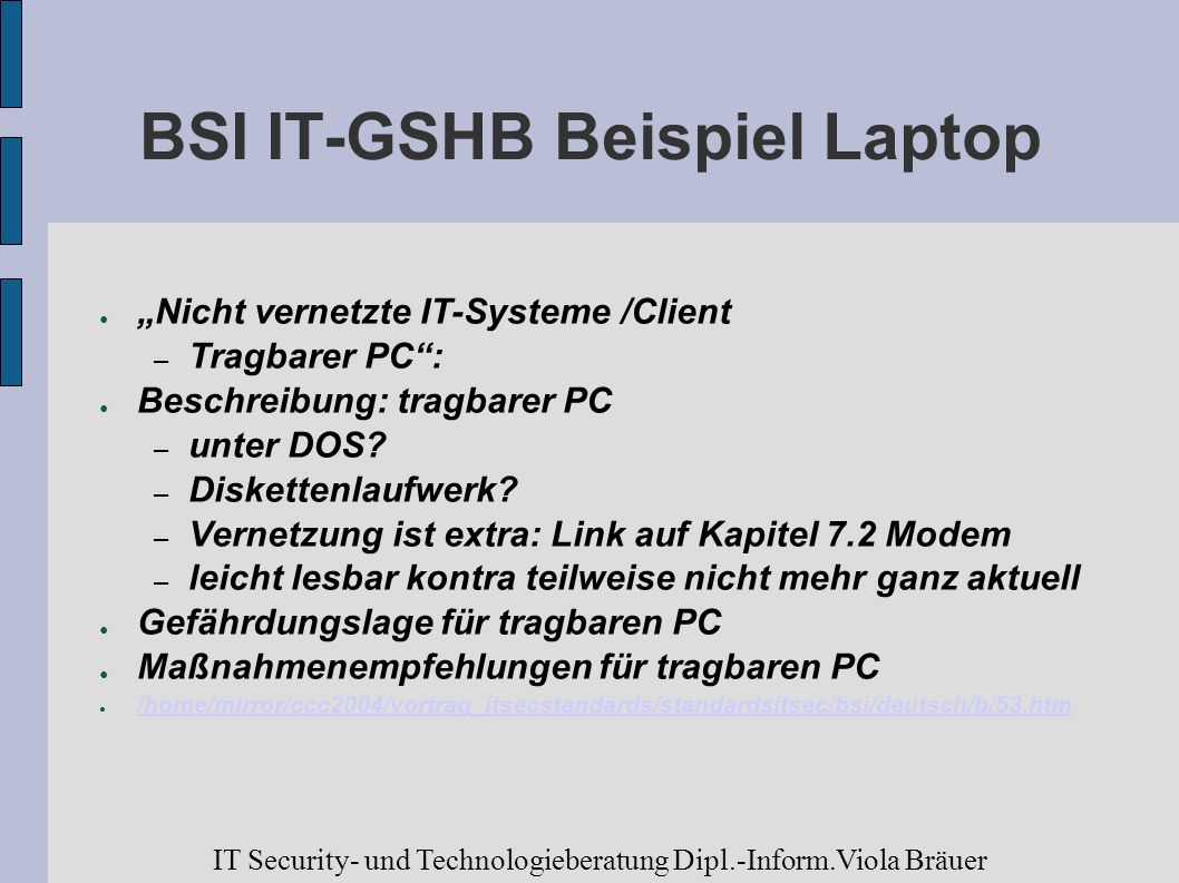 BSI IT-GSHB Beispiel Laptop