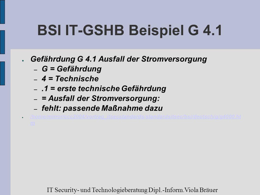 BSI IT-GSHB Beispiel G 4.1Gefährdung G 4.1 Ausfall der Stromversorgung. G = Gefährdung. 4 = Technische.