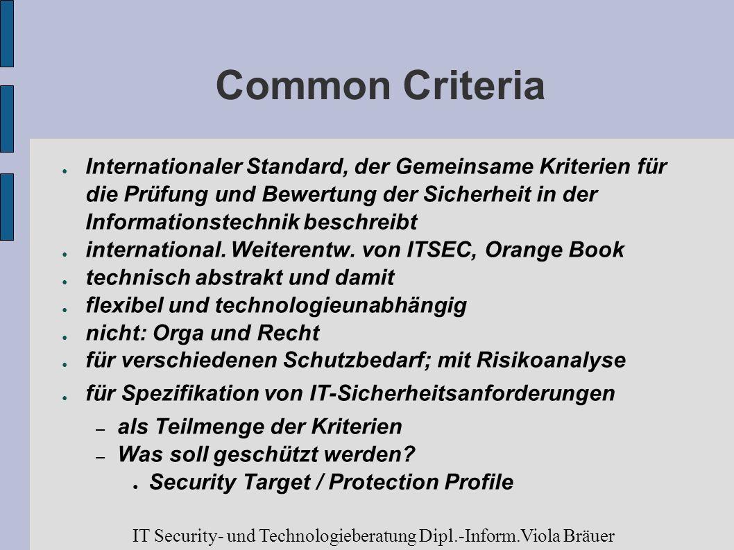Common Criteria Internationaler Standard, der Gemeinsame Kriterien für die Prüfung und Bewertung der Sicherheit in der Informationstechnik beschreibt.