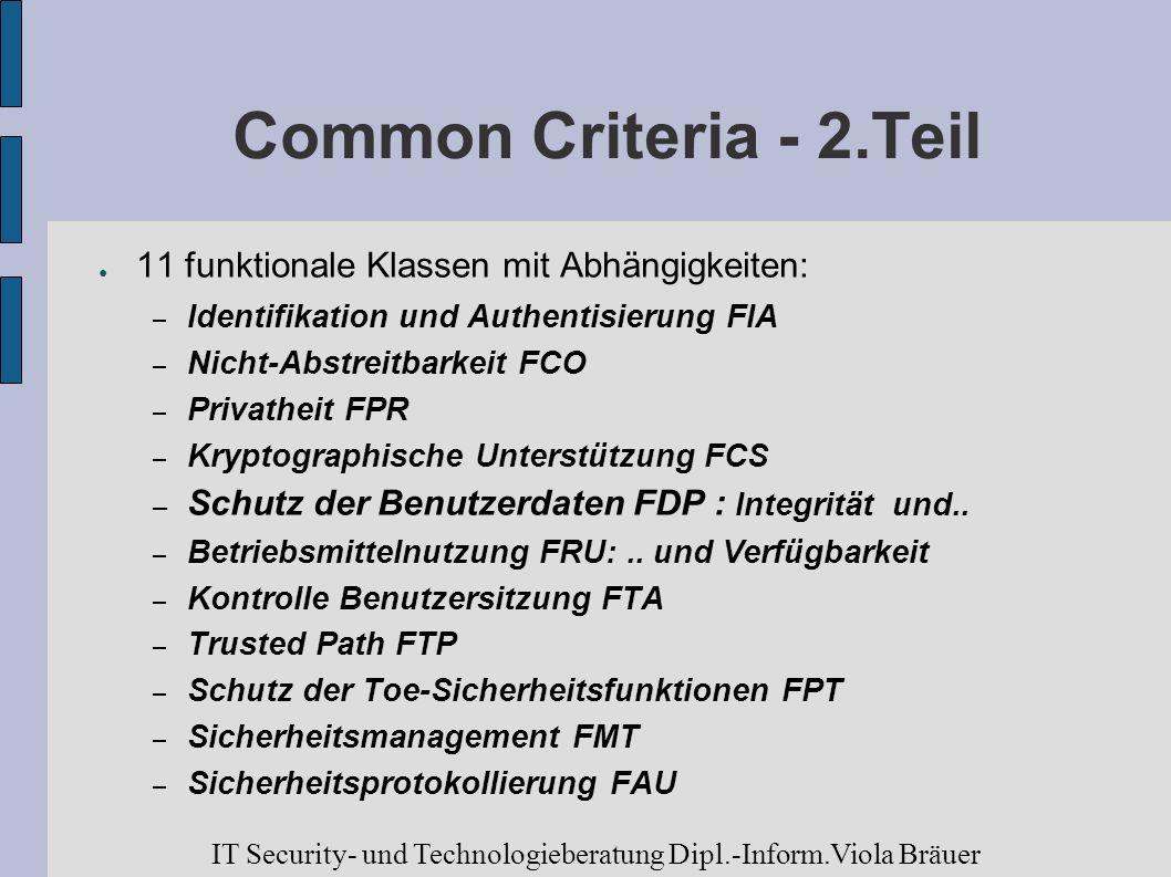 Common Criteria - 2.Teil 11 funktionale Klassen mit Abhängigkeiten: