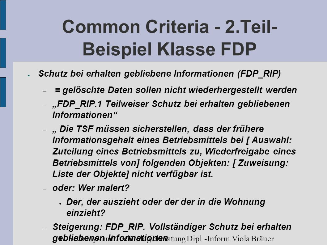 Common Criteria - 2.Teil- Beispiel Klasse FDP
