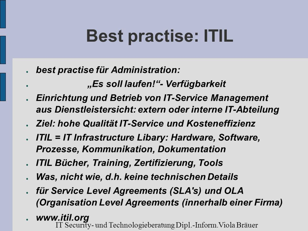 Best practise: ITIL best practise für Administration: