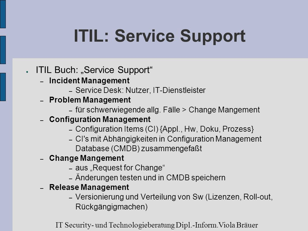 "ITIL: Service Support ITIL Buch: ""Service Support"
