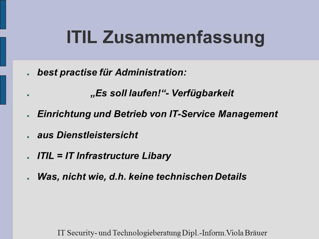 ITIL Zusammenfassung best practise für Administration: