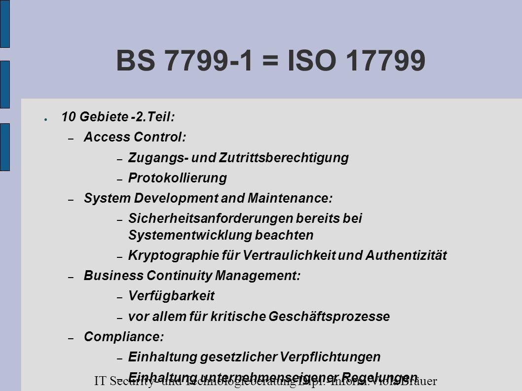 BS 7799-1 = ISO 1779910 Gebiete -2.Teil: Access Control: Zugangs- und Zutrittsberechtigung. Protokollierung.