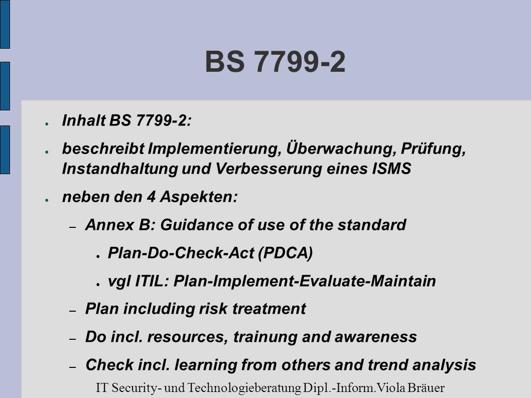 BS 7799-2Inhalt BS 7799-2: beschreibt Implementierung, Überwachung, Prüfung, Instandhaltung und Verbesserung eines ISMS.