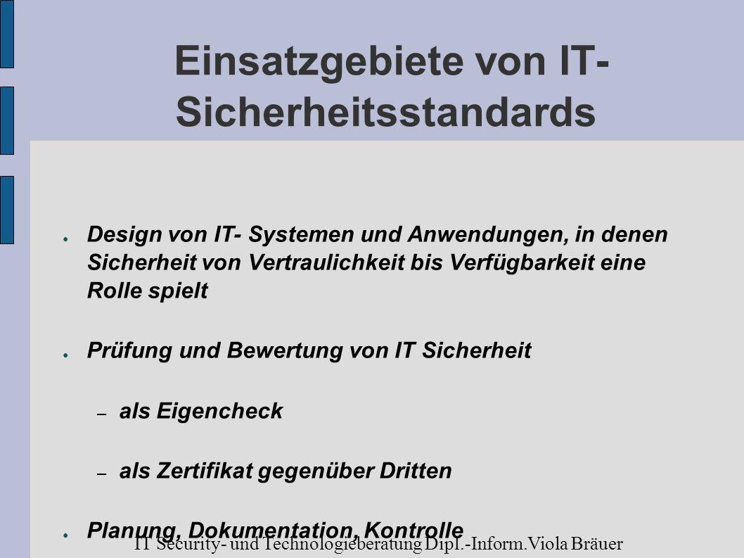 Einsatzgebiete von IT- Sicherheitsstandards