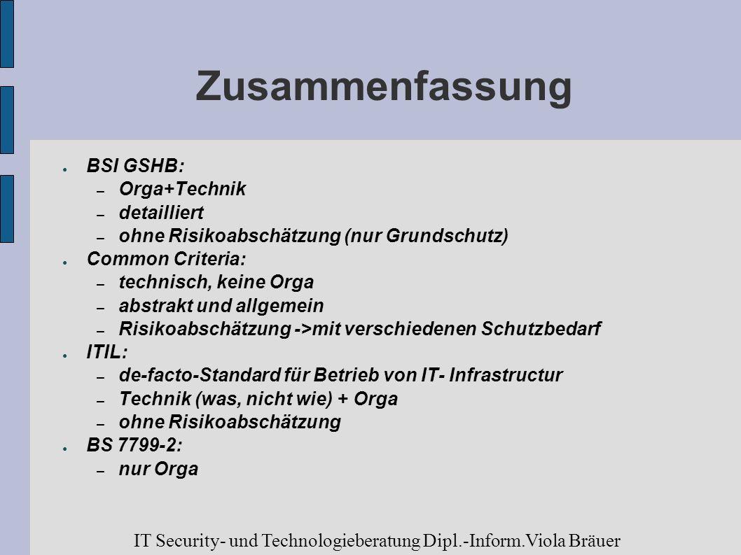 ZusammenfassungBSI GSHB: Orga+Technik. detailliert. ohne Risikoabschätzung (nur Grundschutz) Common Criteria: