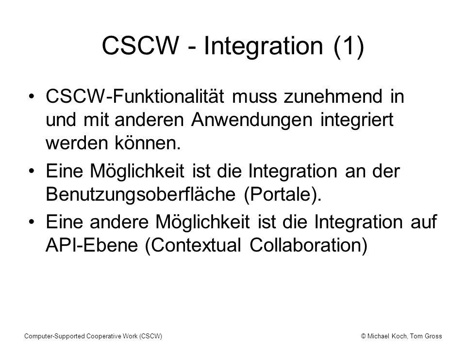 CSCW - Integration (1) CSCW-Funktionalität muss zunehmend in und mit anderen Anwendungen integriert werden können.