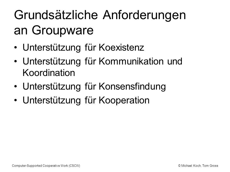 Grundsätzliche Anforderungen an Groupware