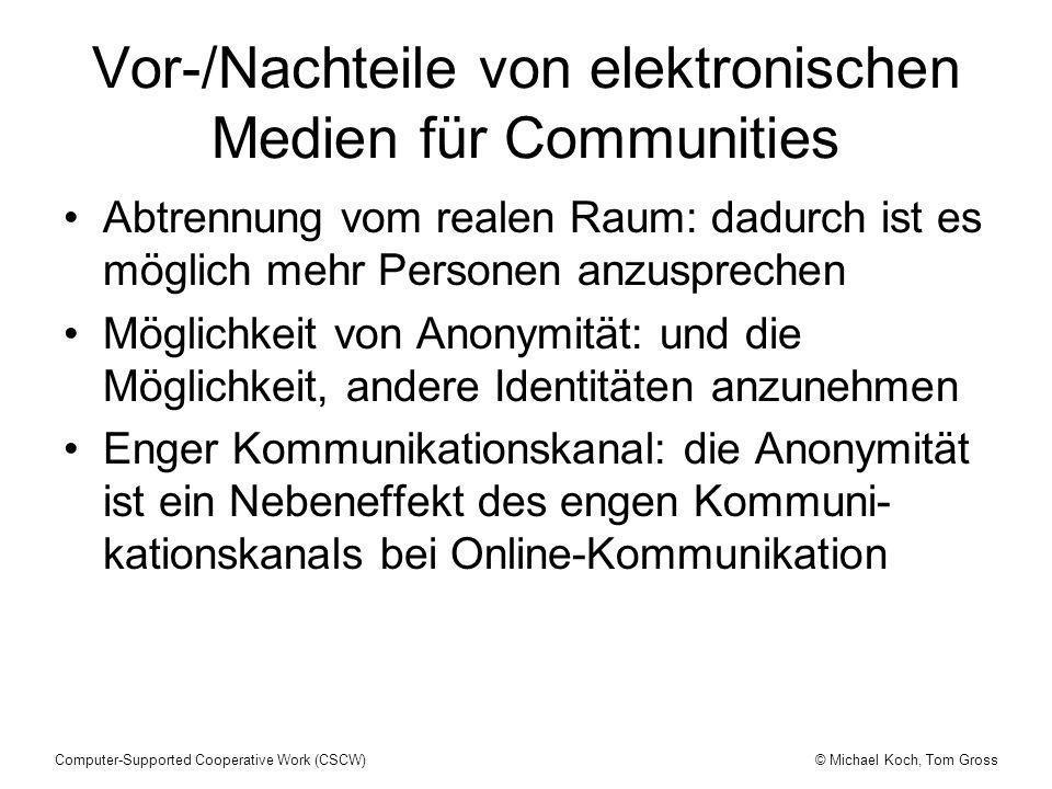 Vor-/Nachteile von elektronischen Medien für Communities