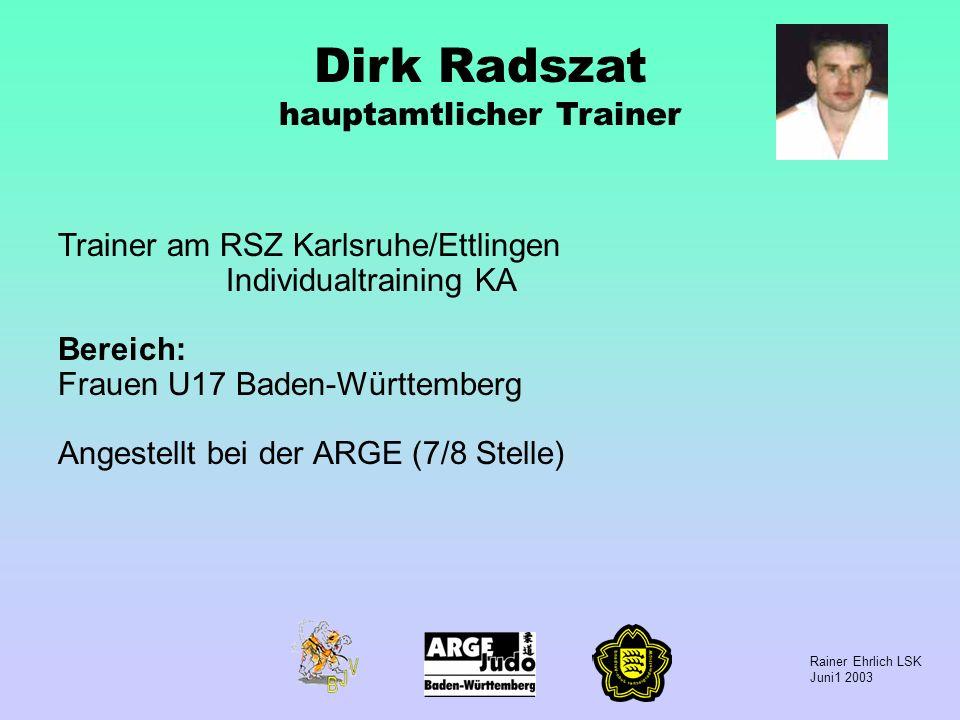 Dirk Radszat hauptamtlicher Trainer