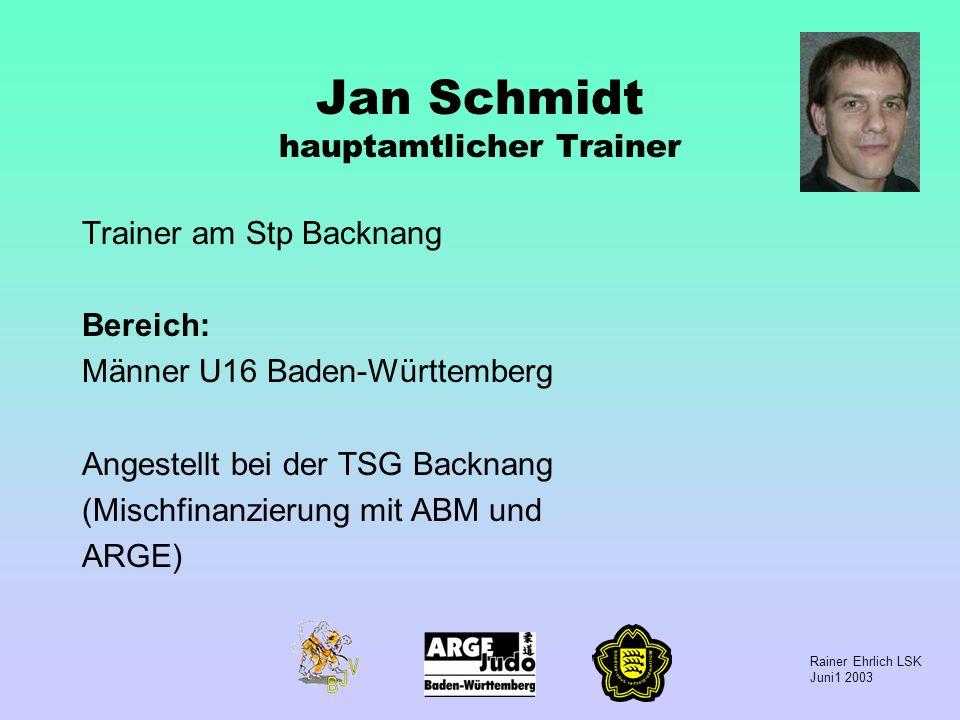 Jan Schmidt hauptamtlicher Trainer