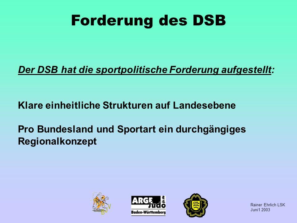 Forderung des DSB Der DSB hat die sportpolitische Forderung aufgestellt: Klare einheitliche Strukturen auf Landesebene.