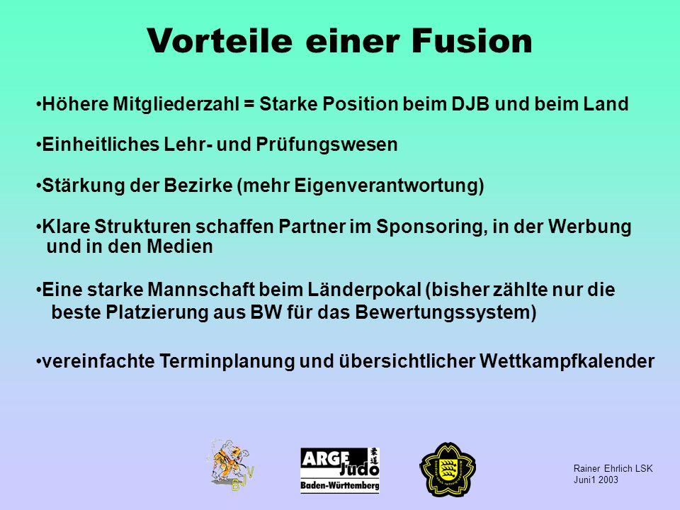Vorteile einer Fusion Höhere Mitgliederzahl = Starke Position beim DJB und beim Land. Einheitliches Lehr- und Prüfungswesen.