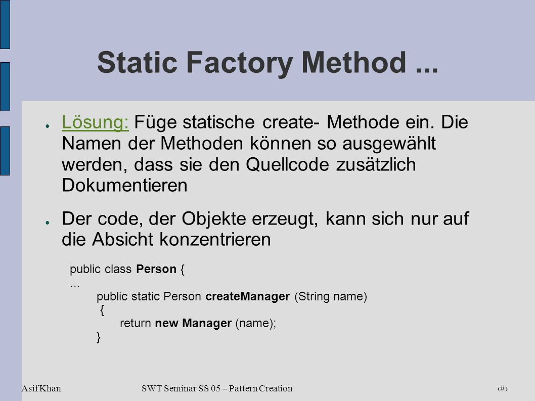 Static Factory Method ...