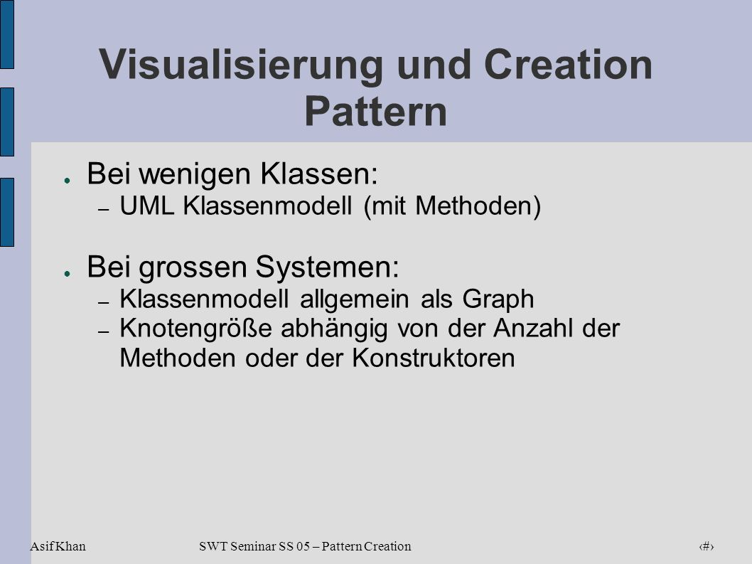 Visualisierung und Creation Pattern