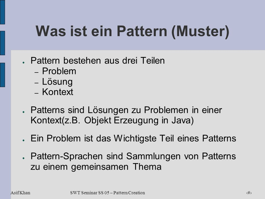 Was ist ein Pattern (Muster)