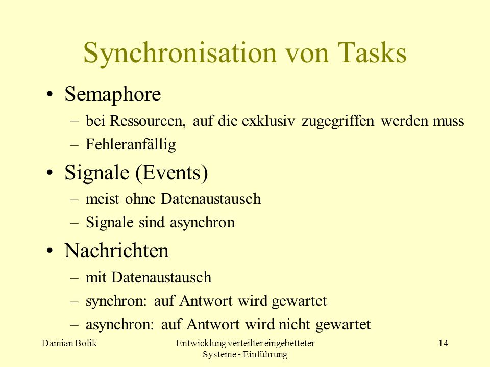 Synchronisation von Tasks