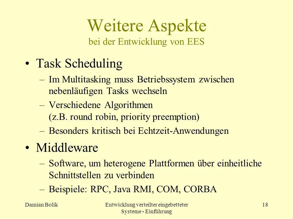 Weitere Aspekte bei der Entwicklung von EES