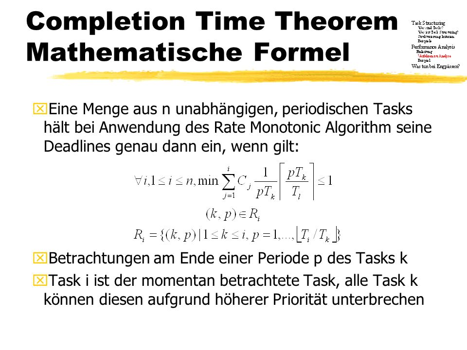 Completion Time Theorem Mathematische Formel